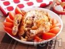 Рецепта Пълнено печено пиле с кайма и картофи на фурна